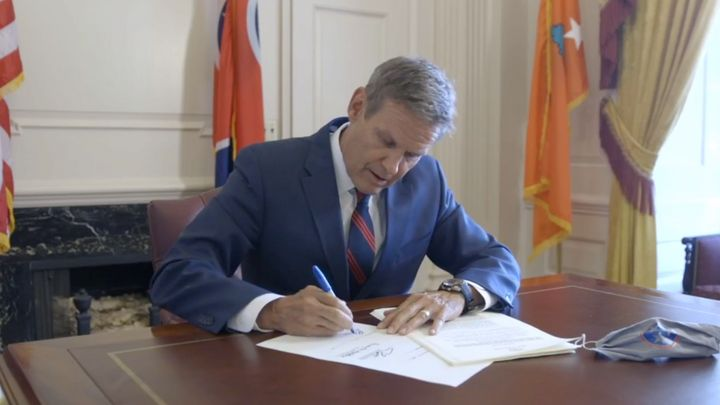 Tennessee Gov. Bill Lee (R) signs an extreme abortion ban into law on Facebook Live.