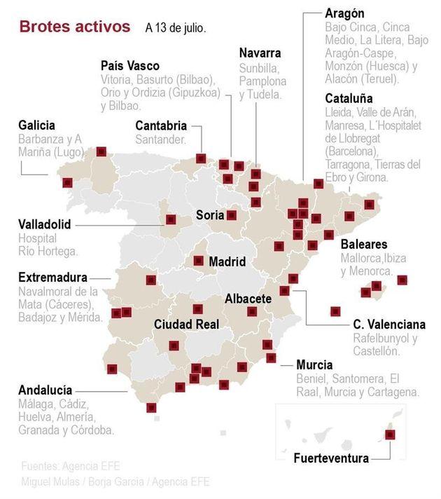 El mapa de los brotes activos en