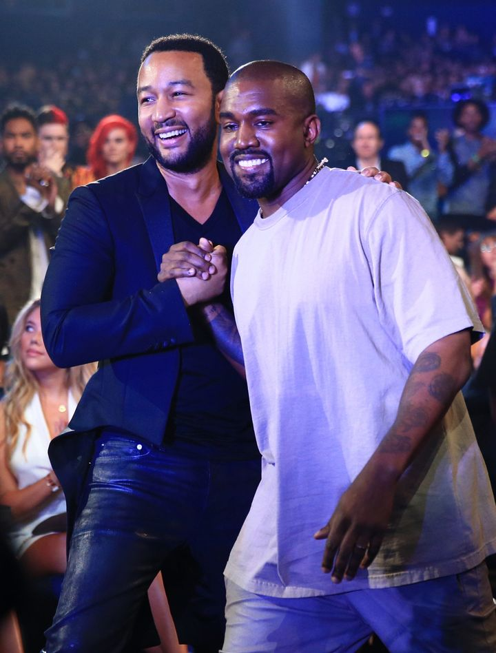 John Legend and Kanye West attend the 2015 MTV Video Music Awards.