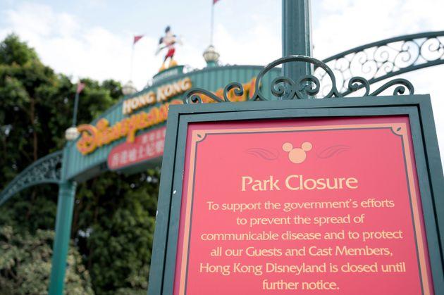 香港ディズニーランドは新型コロナウイルス感染拡大の影響で長期で臨時休園となっていた。撮影は1月26日