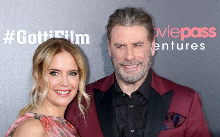 "Kelly Preston and John Travolta at the ""Gotti"" New York premiere at SVA Theater on June 14, 2018 in New York City."