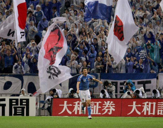 2008年のサッカーW杯予選・日本-バーレーン戦での巻誠一郎選手(当時)