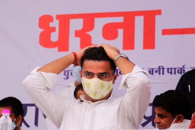 Rajasthan Congress President and Deputy Chief Minister Sachin Pilot takes part in a protest 'dharna'...