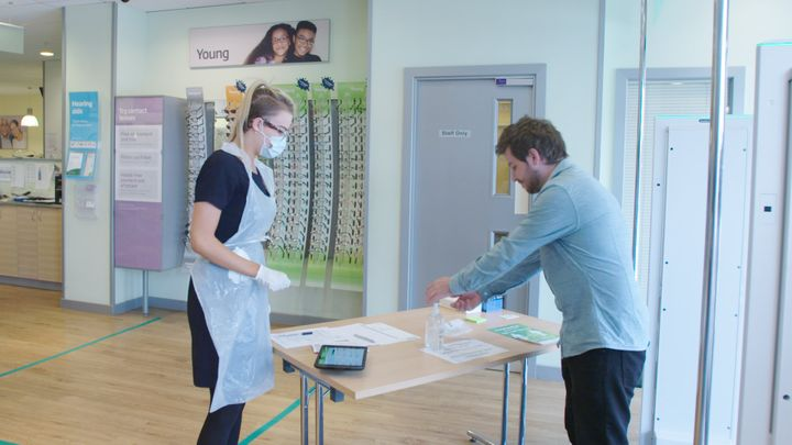 Hand sanitising stations will be at the front of Specsavers stores.