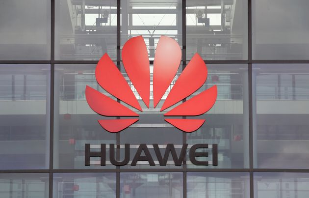 Huawei logo is pictured on the headquarters building in Reading, Britain July 14, 2020. REUTERS/Matthew