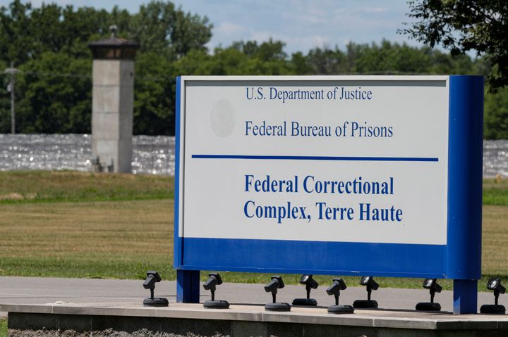 The entrance to the federal prison in Terre Haute, Ind., is shown Monday, July 13, 2020. Daniel Lewis Lee, a convicted killer