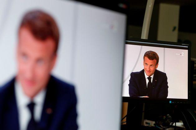 Entretien présidentiel avec Léa Salamé et Gille Bouleau ) (Photo by STEFANO RELLANDINI/AFP...