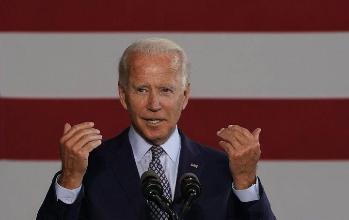 Democratic nominee for president Joe Biden gives a speech to workers after touring McGregor Industries in Dunmore, Pennsylvan