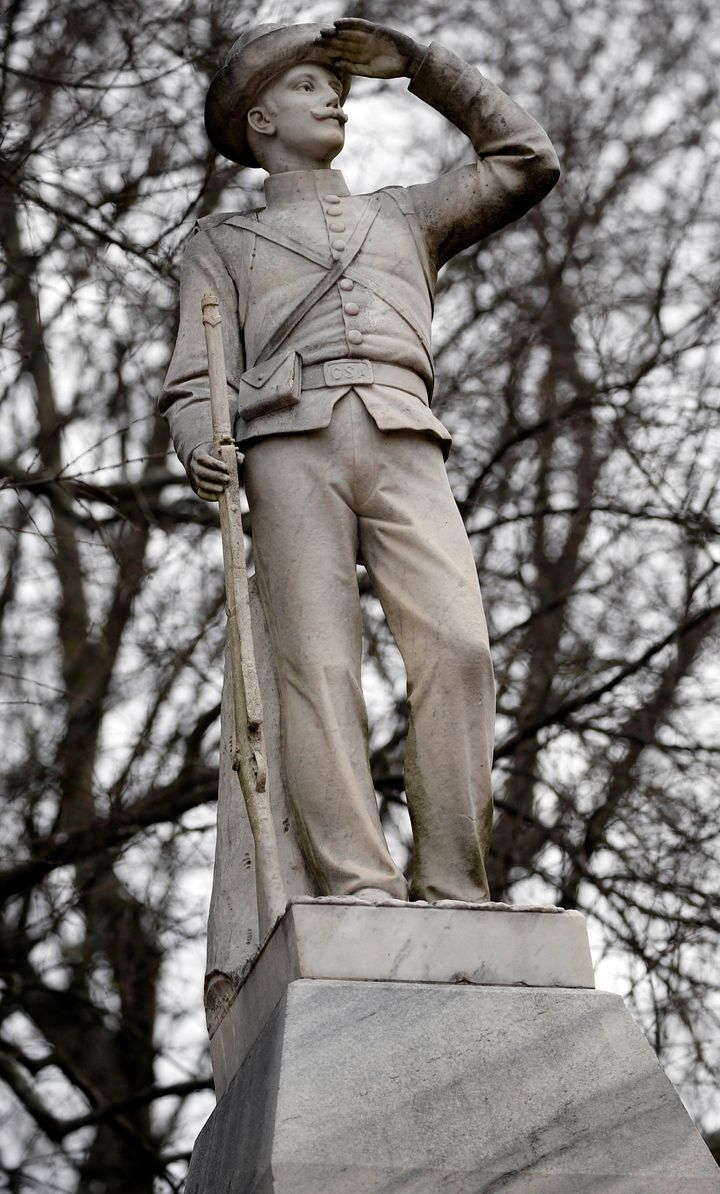 This Feb. 23, 2019 photog shows the Confederate soldier monument at the University of Mississippi in Oxford, Miss.