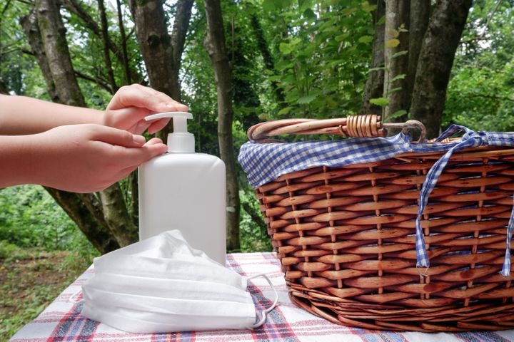 Make sure to sanitize hands and surfaces before eating at your picnic location.
