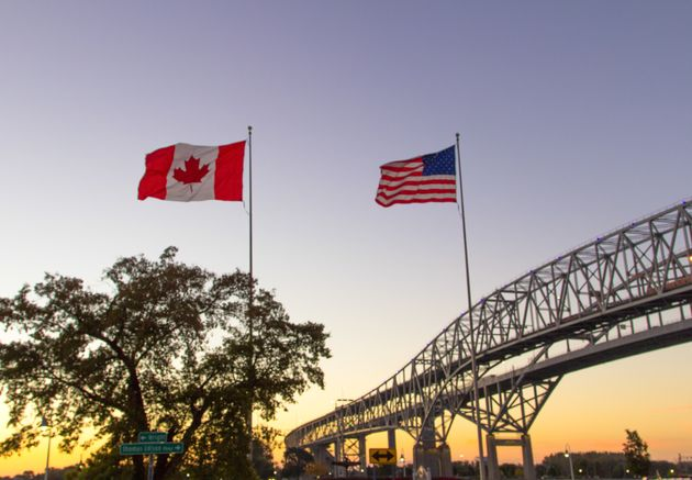 The twin spans of the Blue Water Bridges international crossing between the cities of Port Huron, Michigan...