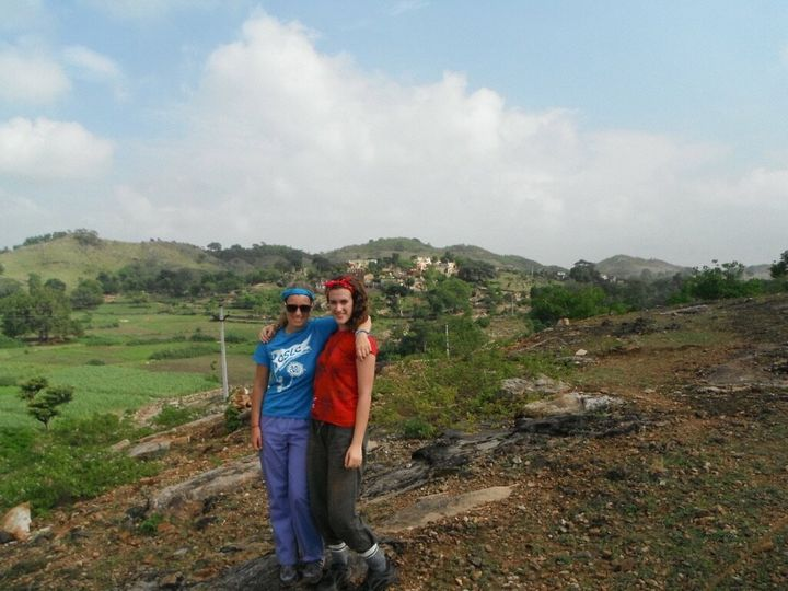 The writer (left) and a friend on a Me to We trip to India.