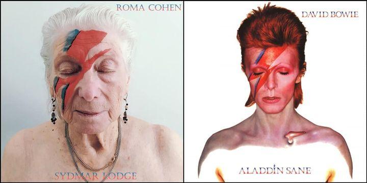 『アラジン・セイン』を再現したローマ・コーエンさん。アルバム名はホームの名前『シドマー・ロッジ』になっている