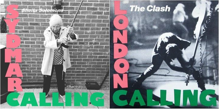 ザ・クラッシュ『ロンドン・コーリング』のボール・シムノンがベースギターを叩きつける場面を、シェイラ・ソロモンズさんが杖で再現