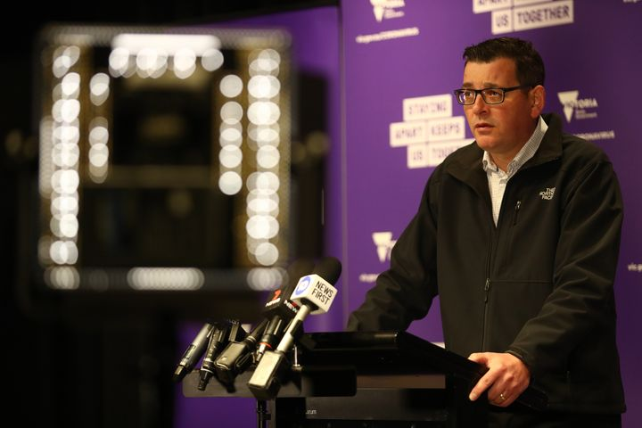Victorian Premier Daniel Andrews speaks to the media during a press conference on July 15, 2020 in Melbourne, Australia.
