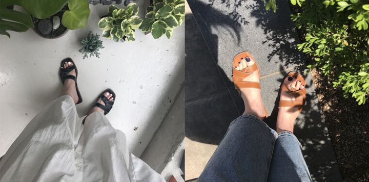 발뒤꿈치가 튀어나온 것이 부끄러웠는지 착용 사진이 하나도 없어 후기 사진으로 대체합니다. 아주 예쁩니다!
