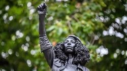 Toppled Slave Trader Statue In UK Replaced By Sculpture Of Black Lives Matter