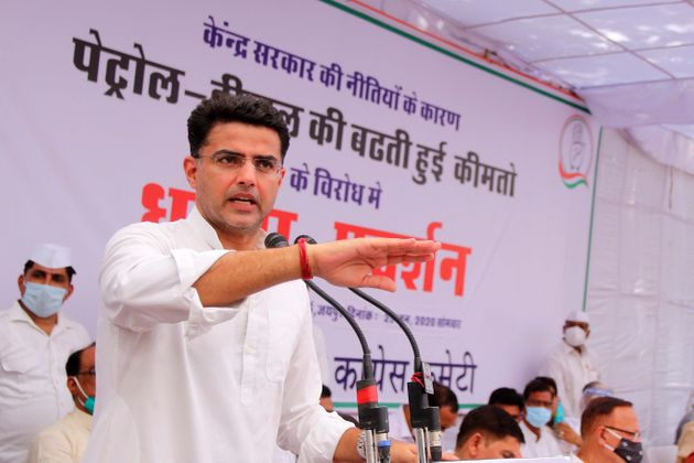 Rajasthan Congress President and Deputy Chief Minister Sachin Pilot addresses as he takes part in a protest...