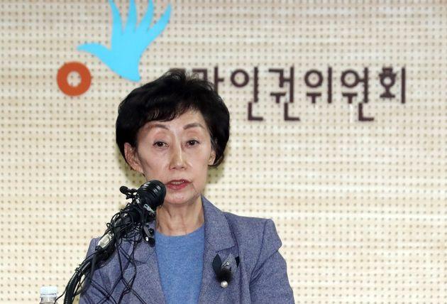 (자료사진) 최영애 국가인권위원회 위원장이 2019년 1월 22일 오후 서울 중구 국가인권위원회 인권교육센터에서