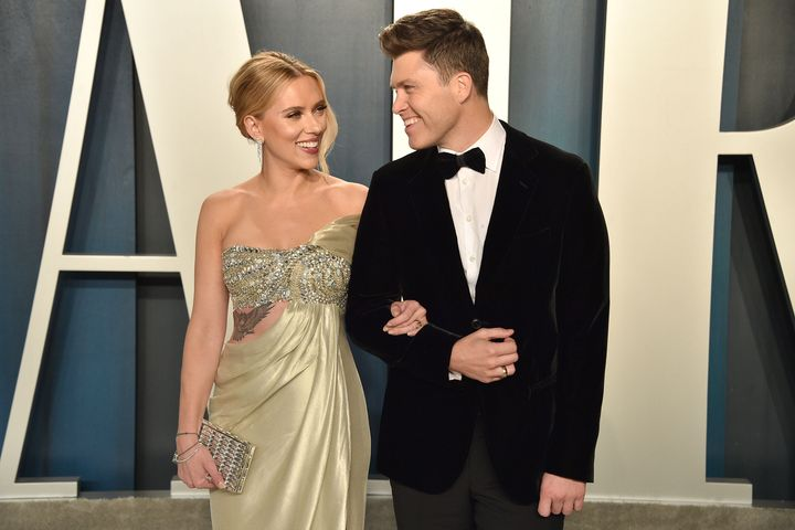 Scarlett Johansson and Colin Jost attend the 2020 Vanity Fair Oscar Party.