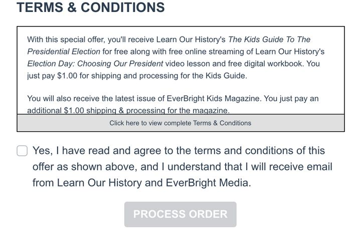 The terms and conditions of Learn Our History's $1 deal are cut off from view before mentioning the additional charges.