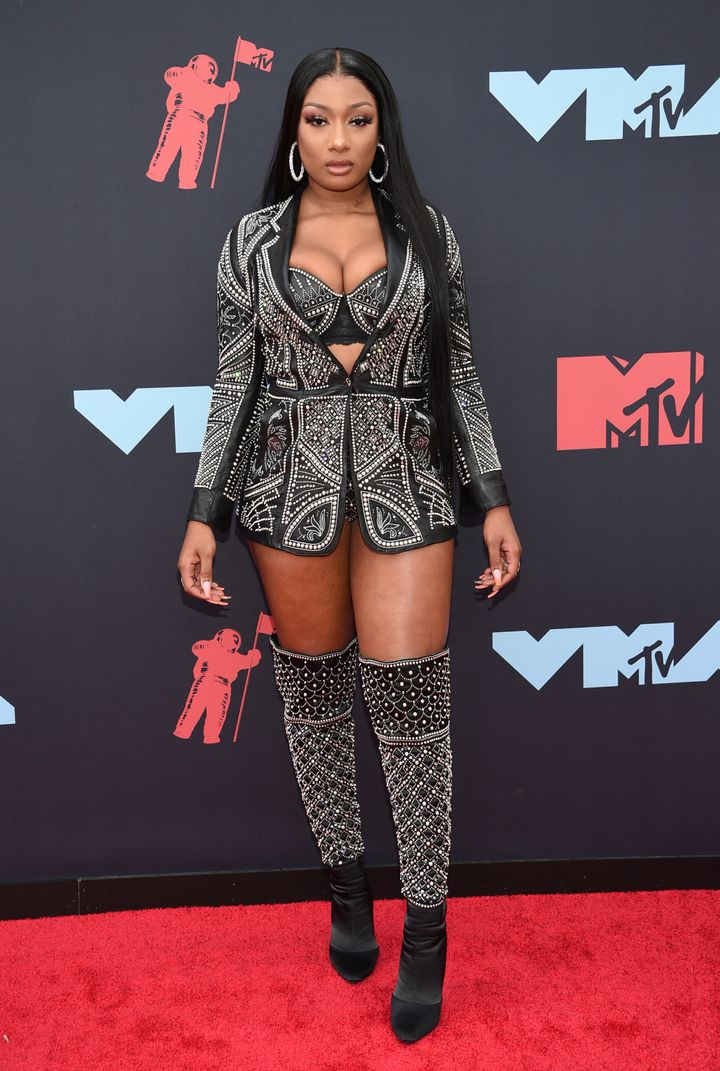Megan Thee Stallion arrives at the MTV Video Music Awards on Aug. 26, 2019, in Newark, N.J.
