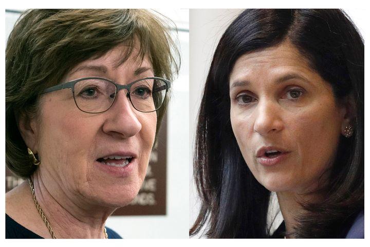 Sen. Susan Collins (R-Maine) and Sara Gideon, her Democratic rival.