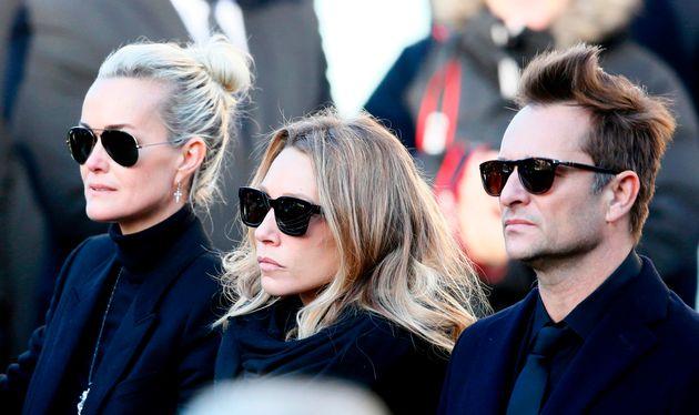 Laeticia Hallyda, Laura Smet, et David Hallyday lors des obsèques de