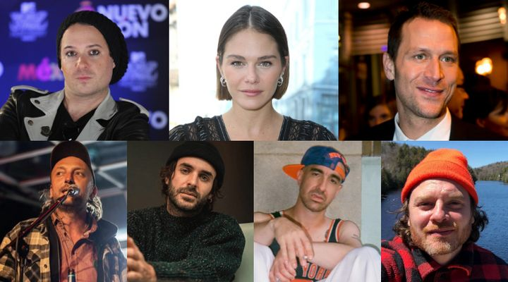 Quebec celebrities, clockwise from top left, David Desrosiers, Maripier Morin, Kevin Parent, Yann Perreau, Maybe Watson, Alex Nevsky, Bernard Adamus, are among those who have been accused of sexual misconduct in recent weeks.
