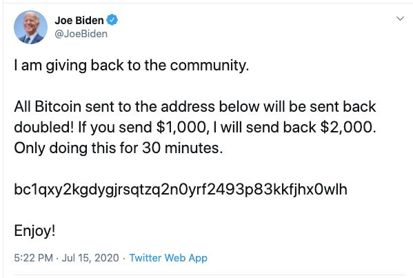 Joe Biden's Twitter account was apparently hacked on Wednesday.