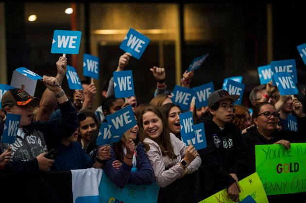A crowd gathers before the WE Day red carpet in Toronto on Sept. 20,