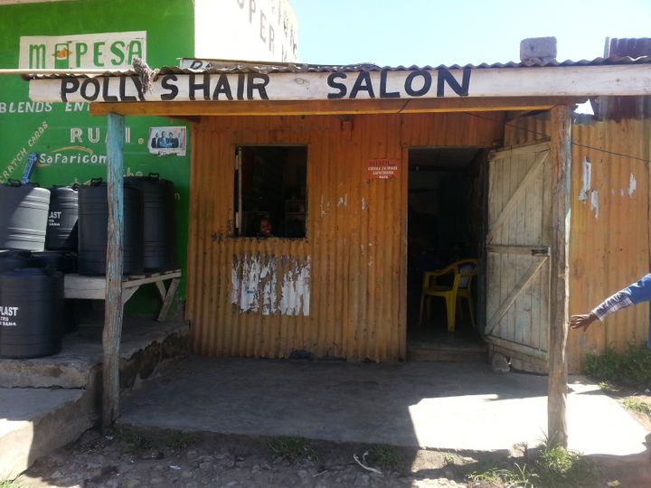 Polly's Hair Salon in Nairobi, where the author got his first protective style: twist braids.