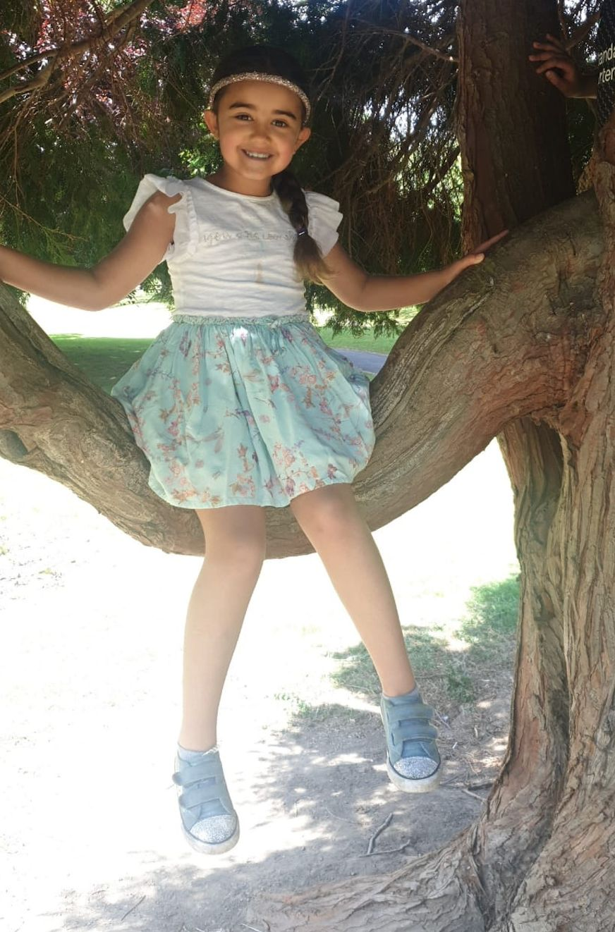 Terri-Anne's daughter Amayah, six, enjoying climbing tree