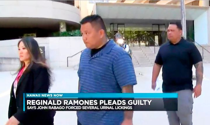 Former Honolulu police officer John Rabago is seen outside a federal court in Honolulu.
