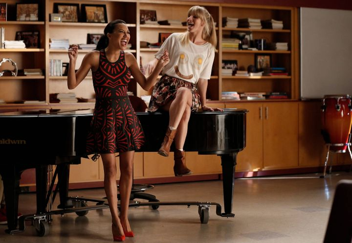 Naya Rivera (left), who was found dead earlier this week, and Heather Morris (right), as their respective characters in a 201