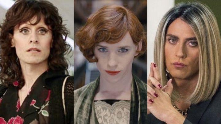 Jared Leto en 'Dallas Buyers Club', Eddie Redmayne en 'La chica danesa' y Paco León en 'La casa de las flores'.