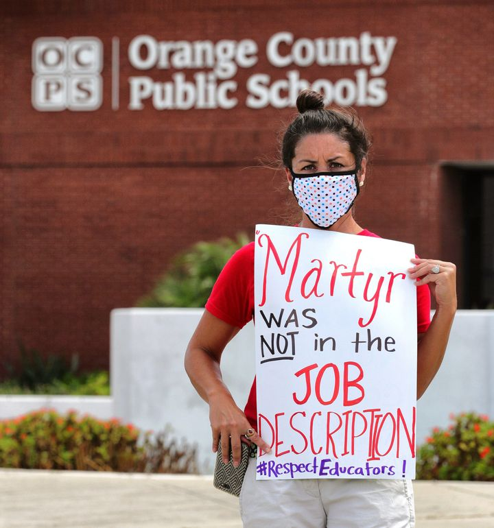 Orange County Public School teachers protested last week the decision by Gov. DeSantis and the state education commissioner t