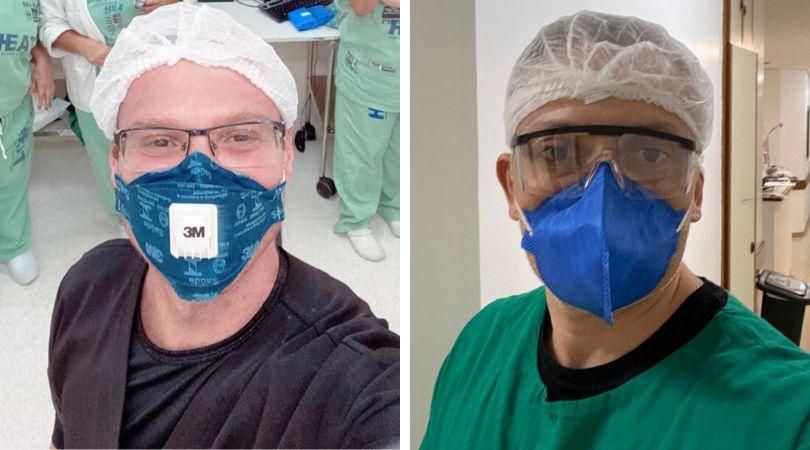 Thiago Lopes (à esq), voluntário no Rio de Janeiro, e Fábio Jennings, voluntário...