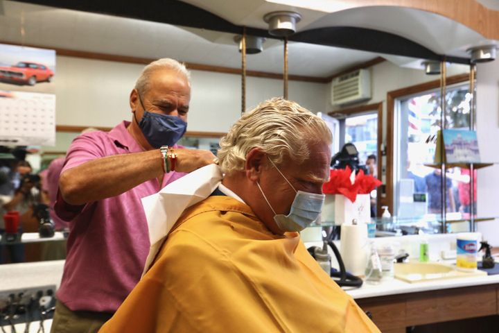 Doug Ford got his hair cut at Mastronardi Barbering in Leamington, Ont.