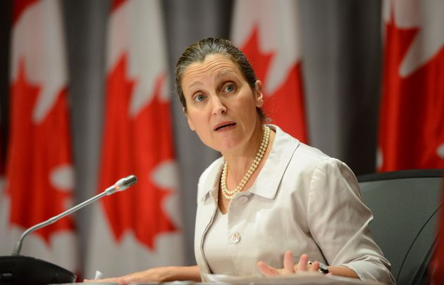 Deputy Prime Minister Chrystia Freeland holds a press conference on Parliament Hill in Ottawa on July...