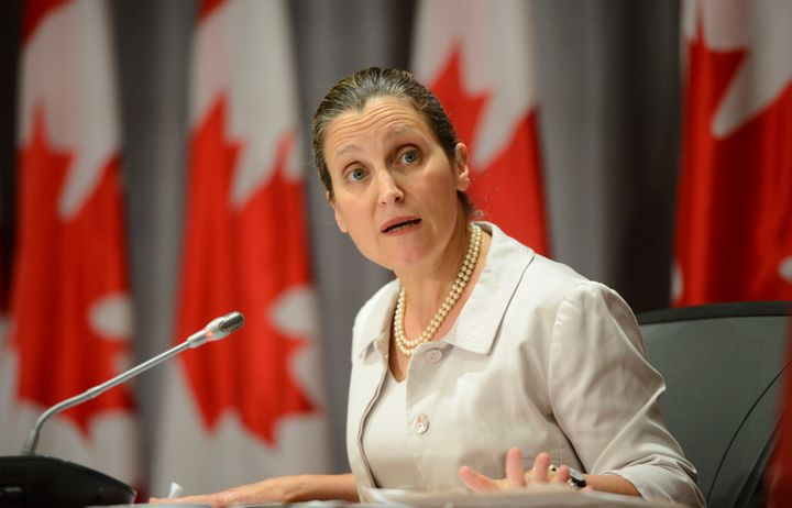 Deputy Prime Minister Chrystia Freeland holds a press conference on Parliament Hill in Ottawa on July 16, 2020.