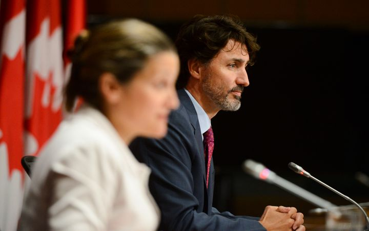 Prime Minister Justin Trudeau and Deputy Prime Minister Chrystia Freeland hold a press conference on Parliament Hill in Ottawa on July 16, 2020.