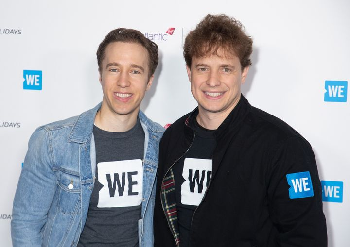 Craig Keilburger and Marc Keilburger attend WE Day UK 2020 at The SSE Arena, Wembley on March 4, 2020 in London.