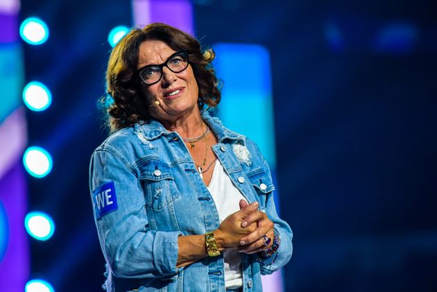 Margaret Trudeau speaks on stage during the WE Day event at Scotiabank Arena in Toronto on Sept. 20,...