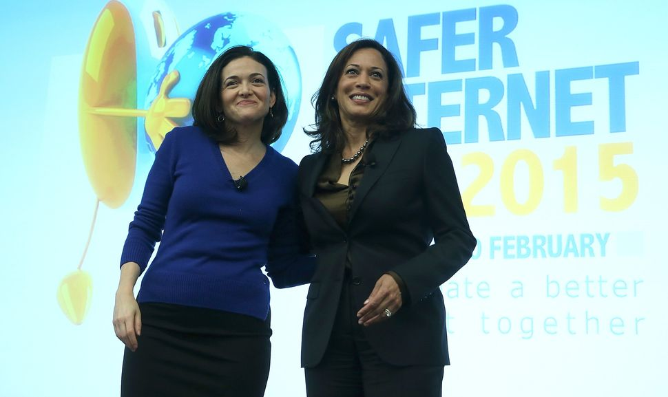 Kamala Harris on stage at Facebook HQ with Sheryl Sandberg on Feb. 10, 2015.