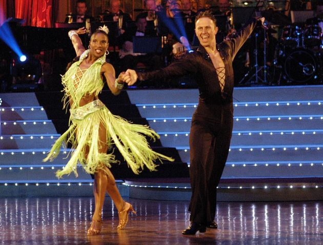 Ian with former dance partner Denise Lewis on the show in