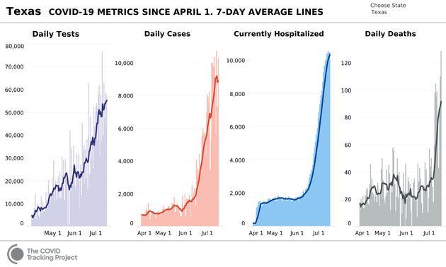 L'évolution de l'épidémie de coronavirus au Texas (violet: nombre de test, rouge: nombre de cas, bleu:...