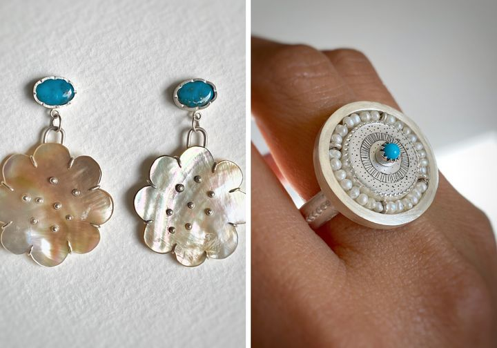 Left to right: Castle Dome and Flower Earrings with black mother of pearl, $  420; Etched mother-of-pearl ring in sterling silver with turquoise and seed pearls centerpiece, $  625