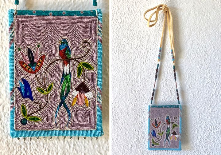 Resplendent Quetzal Women's Cornmeal Bag, winner (Best of Division) at Cherokee Art Market