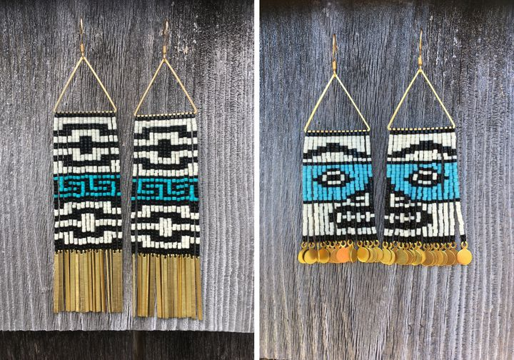 Left to right: Tail of the Raven With Cresting Waves Earrings, $  165; Naaxiin (Chilkat) Face Earrings, $  185